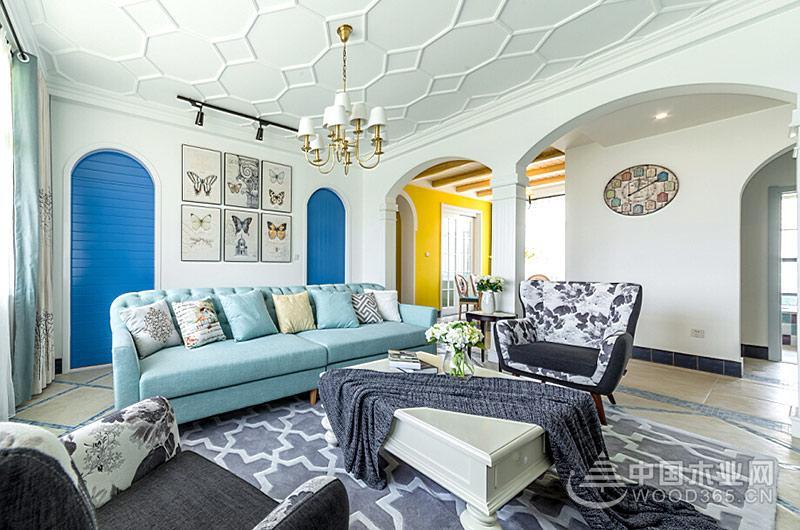 2130平米地中海风格三室两厅装修效果图