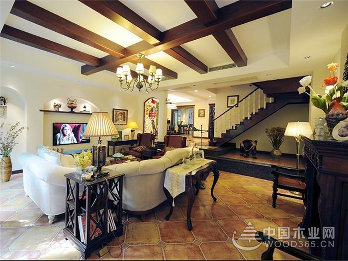 简约美式复式居,160平米三室两厅装修效果图图片
