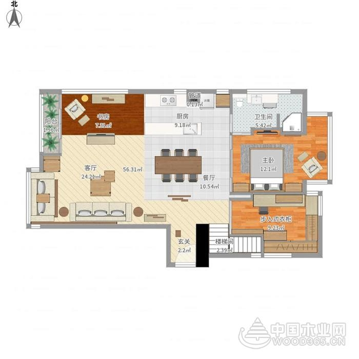 实体墙线木质搭建,92平米两房两厅装修效果图