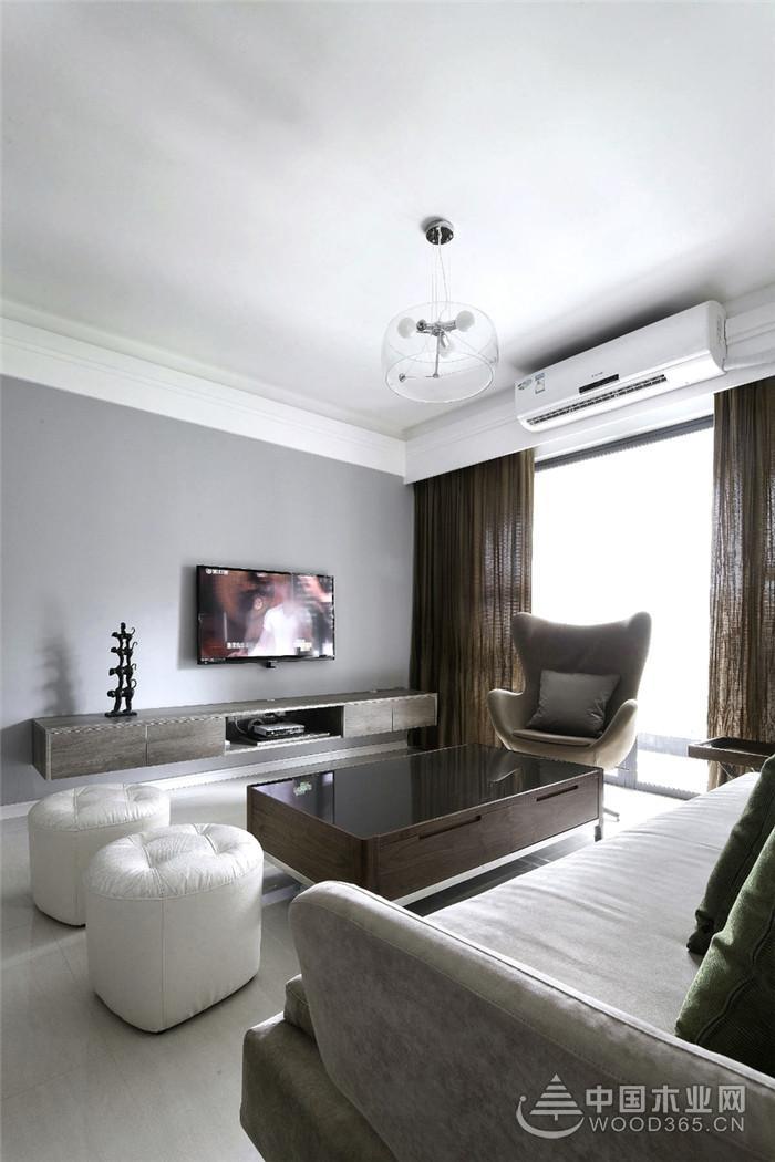 130平三室两厅现代简约风格装修图片-中国木业网