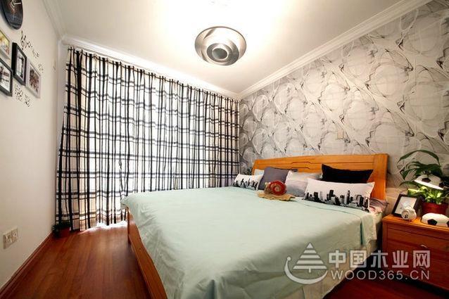 现代简约单身公寓卧室背景墙装修效果图设计