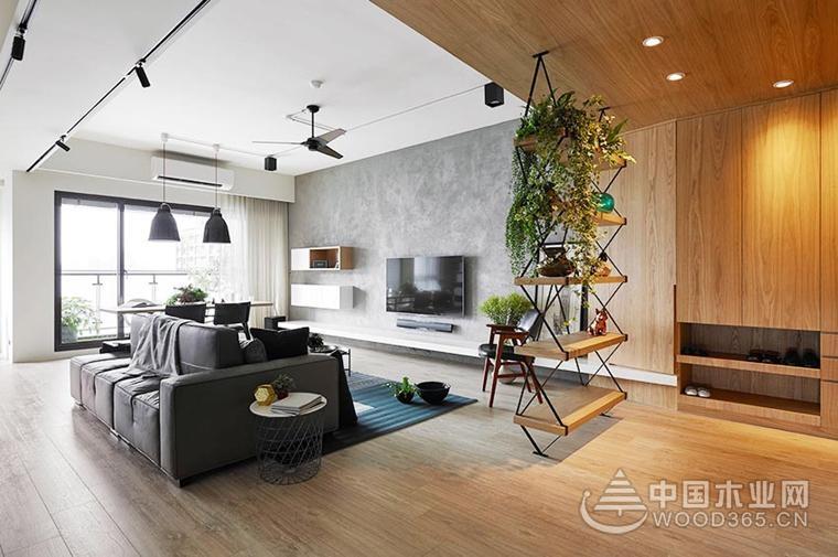 原木色家具搭配设计,100平米两房一厅装修效果图