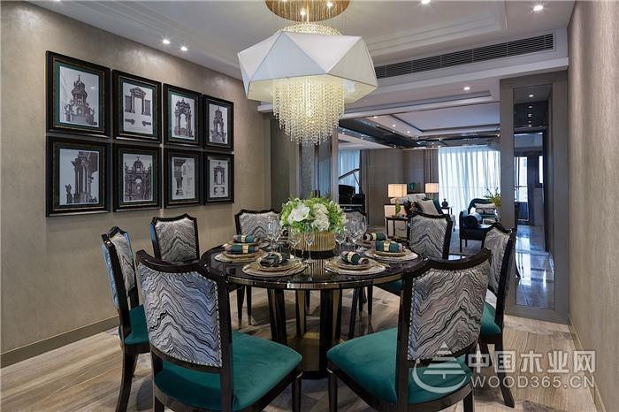 用西式来表达中国风,180平米三室一厅装修效果图