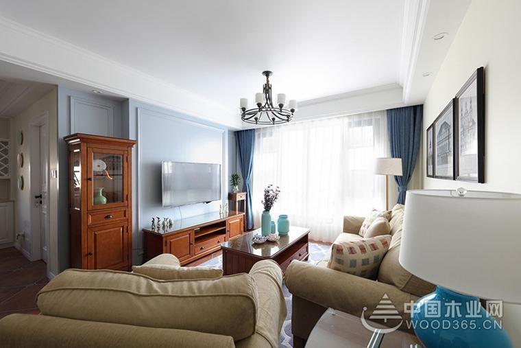 舒適輕松的美式裝修風格,110平米三室兩廳裝修效果圖