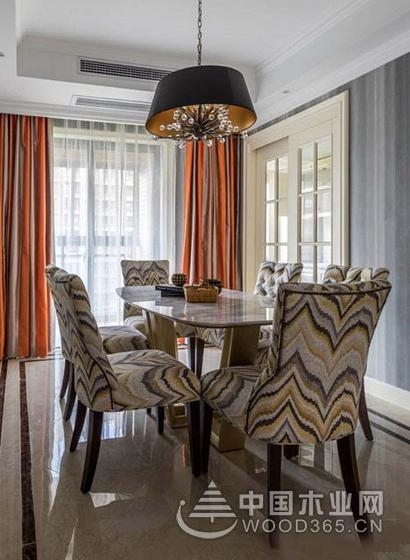 美式风格撞色装修,120平米三室一厅装修效果图