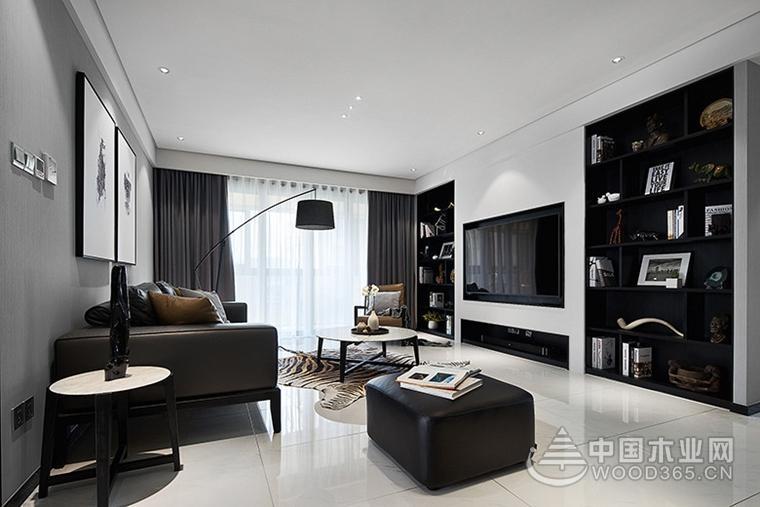 炫酷黑白灰,120平米三室一厅装修效果图