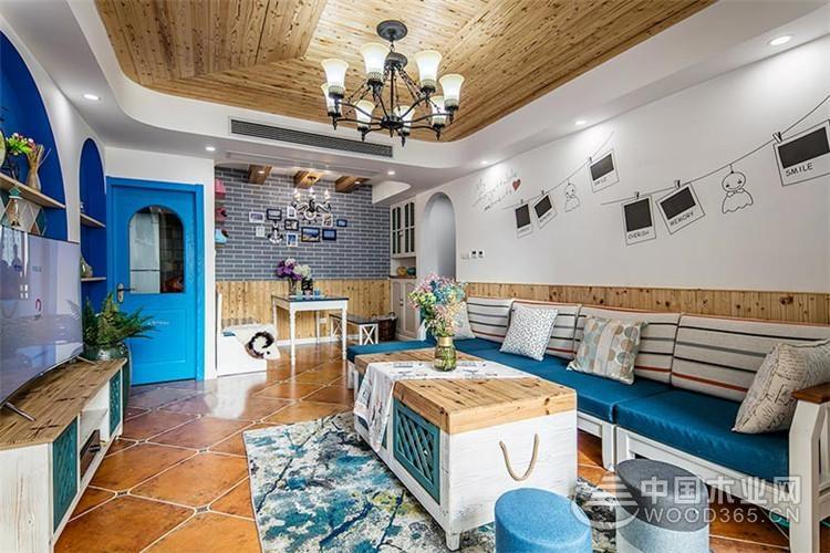 地中海风格装修图片,105平米三室一厅装修效果图