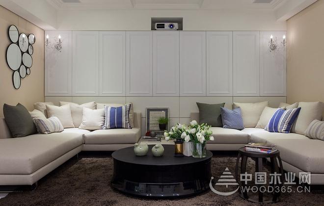 欧式典范,180平米灰蓝水晶灯装饰三室两厅装修效果图
