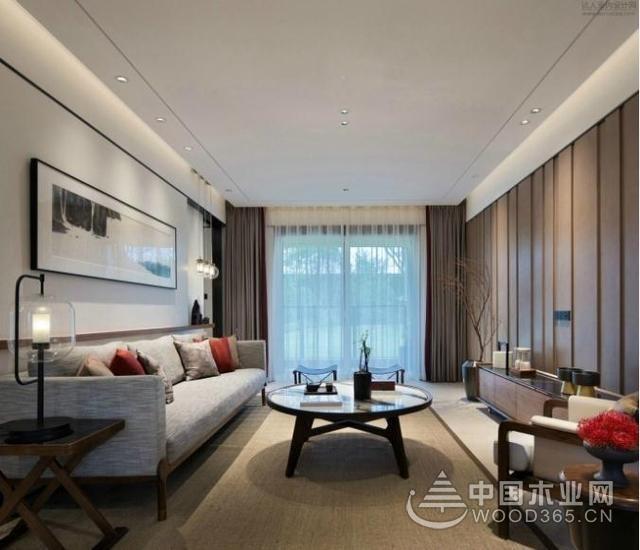很时尚的新中式,90平米两房一厅装修效果图