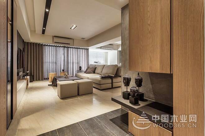 工业风加自然元素,125平米三室两厅装修效果图