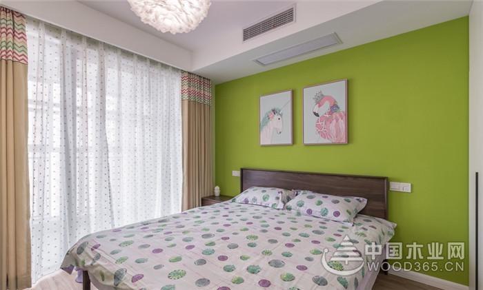 红绿撞色,120平米三室两厅婚房装修效果图