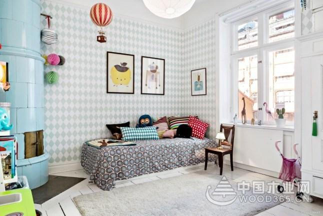 复古田园北欧公寓,88平米两房两厅装修效果图图片