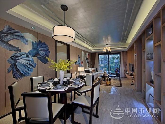 好运锦鲤,110平米中式两房一厅装修效果图