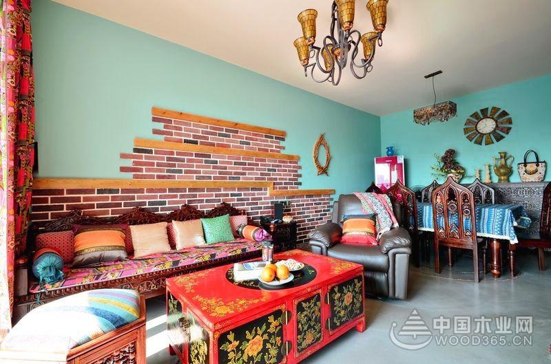 异域风情波西米亚风格,105平米两房一厅装修效果图