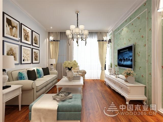美式风格设计,88平米两房一厅装修效果图