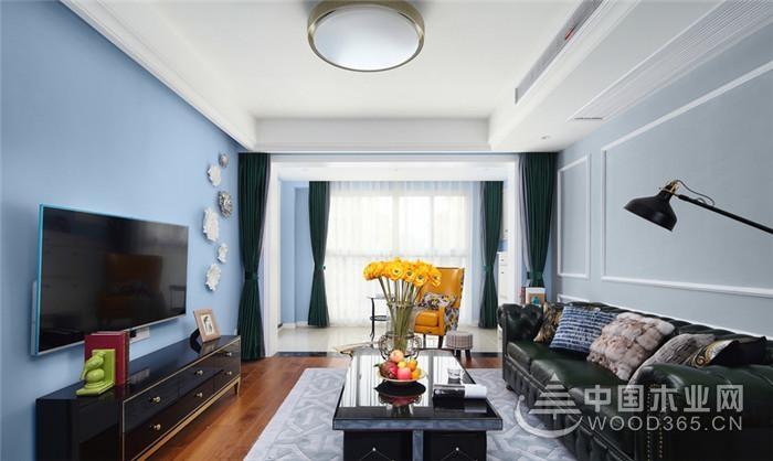 美式风格二人世界,120平米三室两厅装修效果图