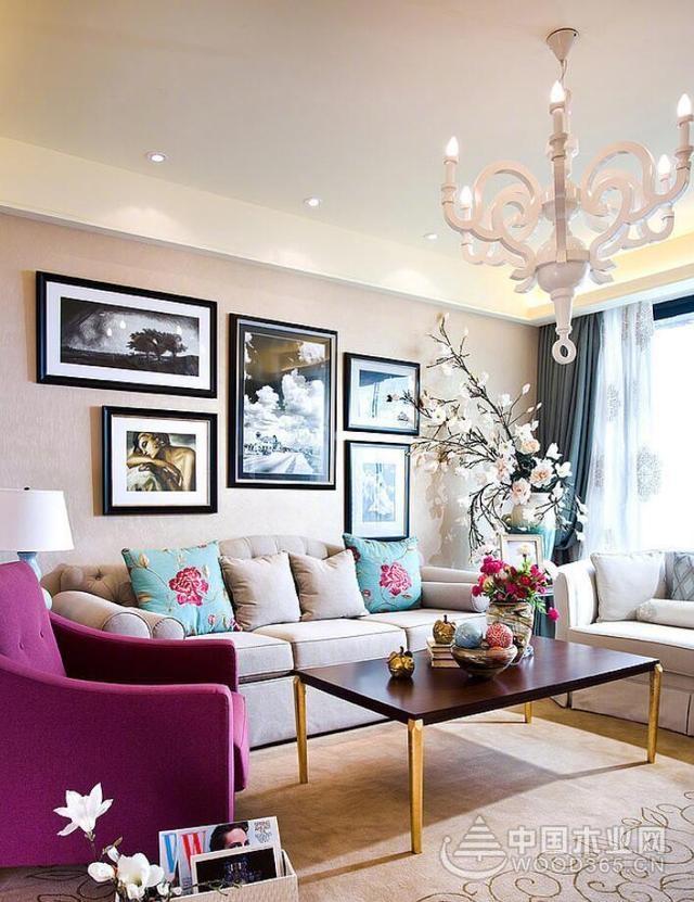 浪漫美丽花式美家,132平米三室两厅装修效果图