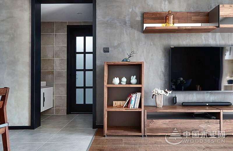 工业风单身公寓,原木元素60平米小户型装修效果图