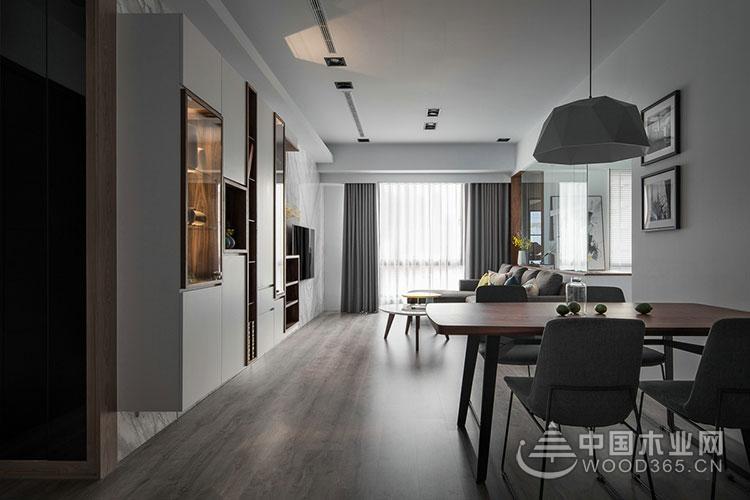 现代简约风格装修,90平米两房一厅装修效果图