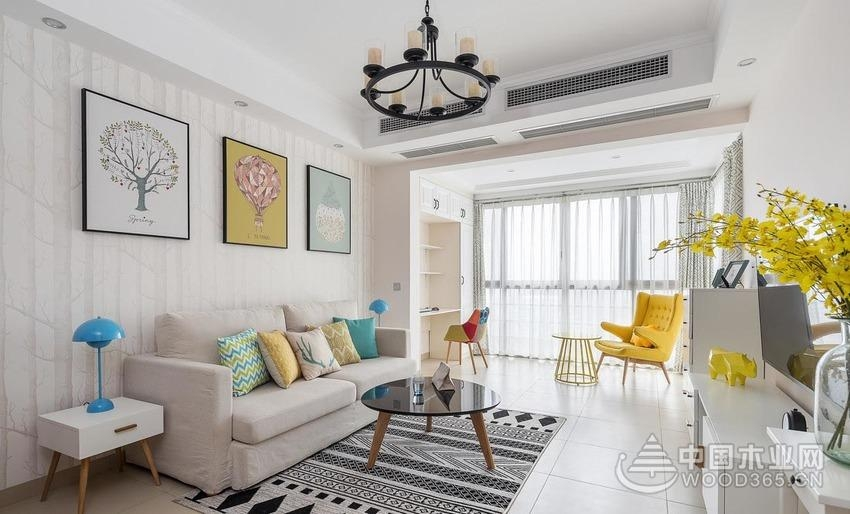 滿滿活力陽光小三房,90平米三室兩廳裝修效果圖