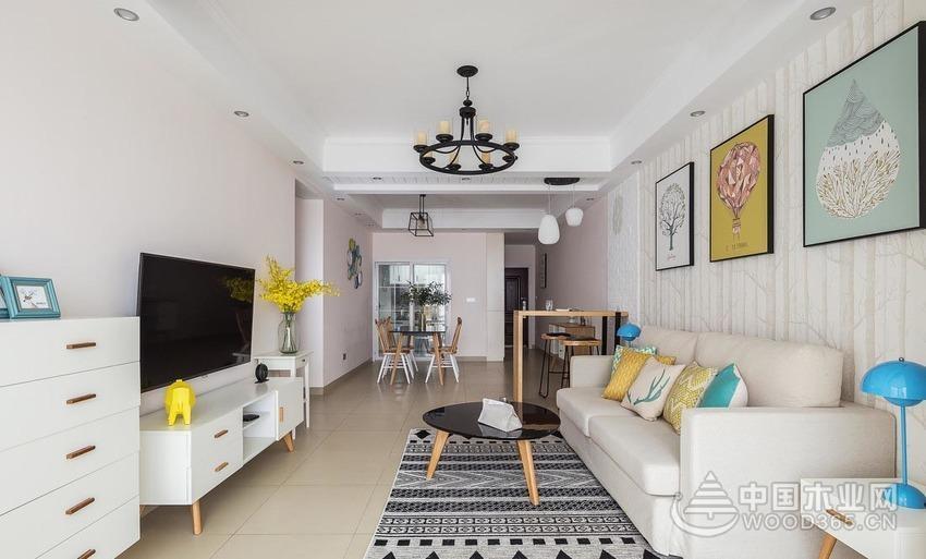 满满活力阳光小三房,90平米三室两厅装修效果图