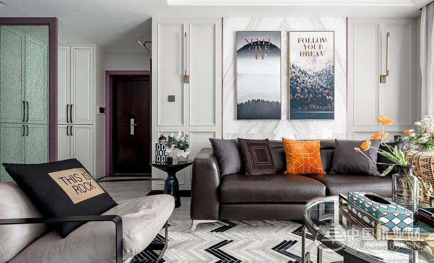 轻奢典雅混搭风,140平米三室两厅装修效果图