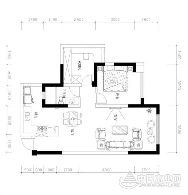 面积不大也是个舒适小家,65平米欧式两房一厅装修效果图