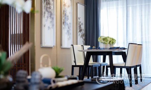 新中式装修效果图:115平三室两厅,因地制宜,诗意空间