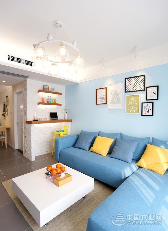 86㎡夏日小清新北欧风格装修, 客厅装修很有感觉