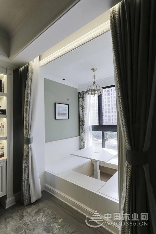 钢琴书架搭配大客厅很时尚,132平米美式三室两厅装修效果图
