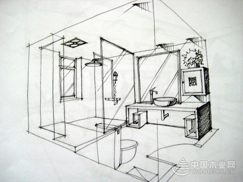卫生间手绘效果图欣赏
