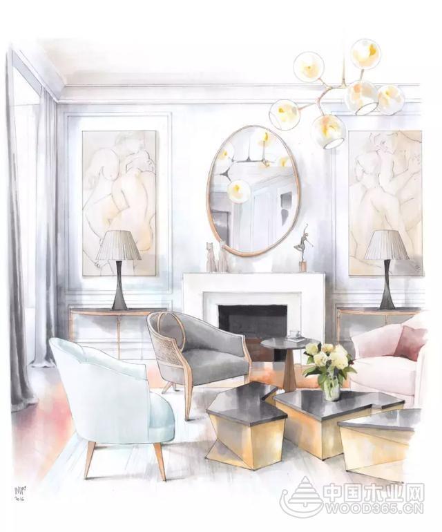 20款室内设计手绘效果图,让人垂涎万分