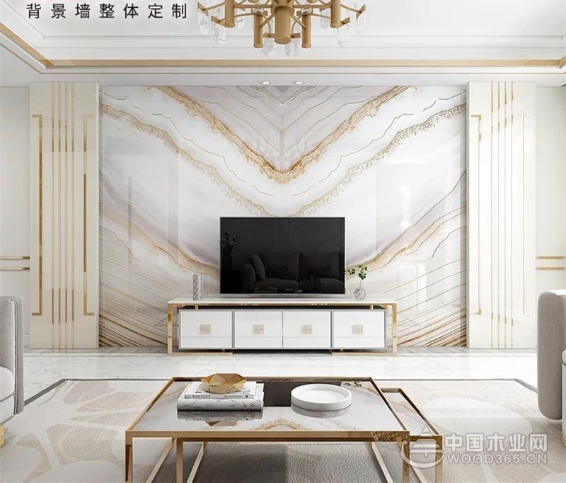 简约现代风格微晶石沙发背景墙装修效果图