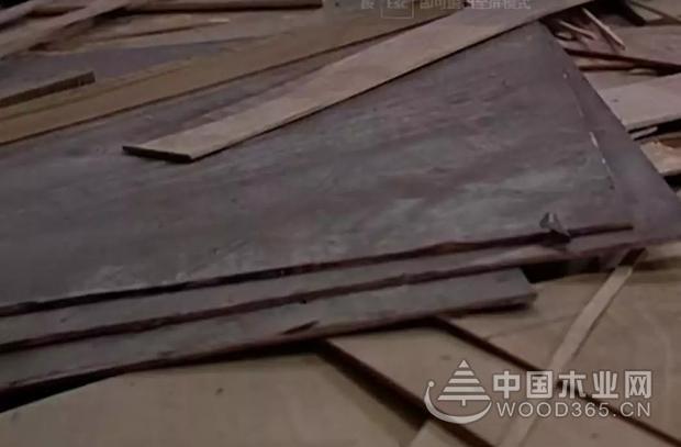 太仓一家无证木材加工厂使用废旧回收木材制作柜子