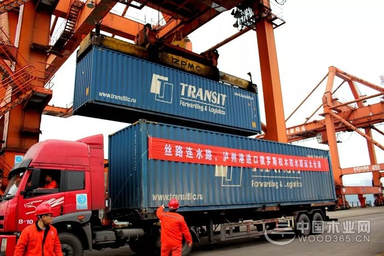 首批俄罗斯木材运抵泸州港