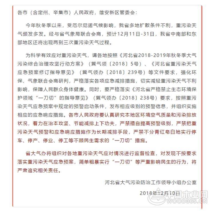 """河北发文重污染天气严禁实行""""一刀切""""措施"""