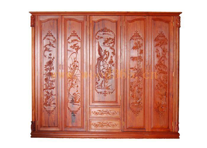 红酸枝五门雕花衣柜