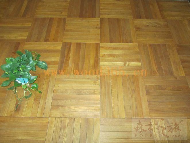 森林之旅柚木拼花地板——方块拼