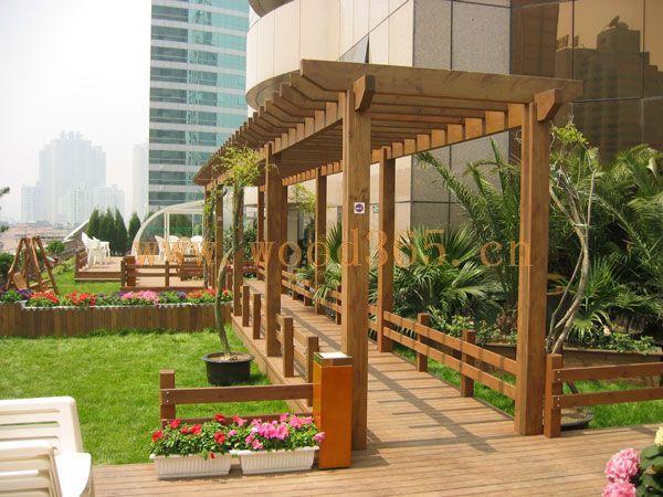 威海防腐木私家庭院花架·凉亭·景观木结构