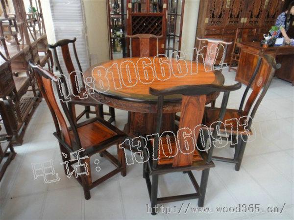 老挝大红酸枝明式餐桌圆桌-仙游红景天红木家具厂