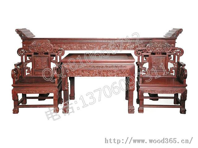 紅酸枝靈芝中堂四件套-仙游紅景天紅木家具廠