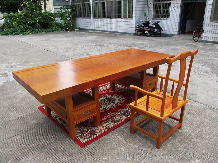 黄花梨书桌办公桌餐桌会议桌整体原木家具花梨木实木大板厂家直销