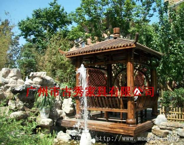 中式木质凉亭,古建凉亭,古典风格凉亭