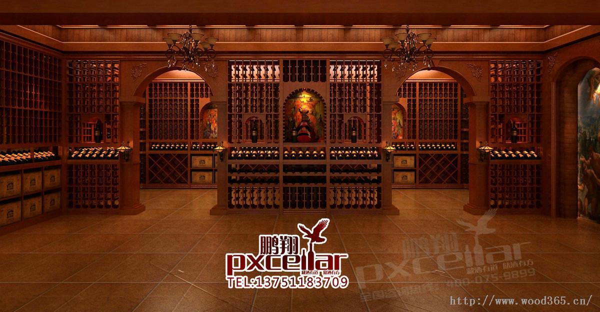 实木红酒架定制,酒庄会所专业酒架设计sm-09