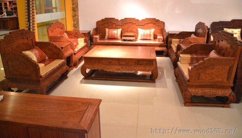 红木家具市场缅甸花梨木荷花宝座沙发