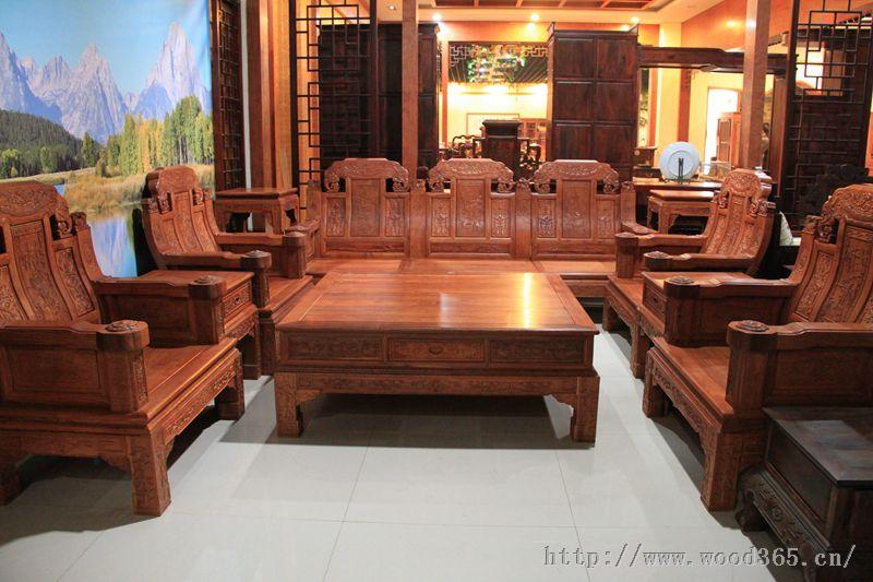 缅甸花梨木客厅象头沙发