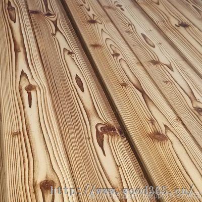 促销芬兰松木浅色火烧炭烧碳化木板装饰板材吊顶背景墙板护墙 炭烧板