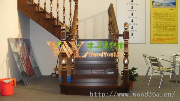 印尼菠萝格实木楼梯踏步板踩踏板扶手
