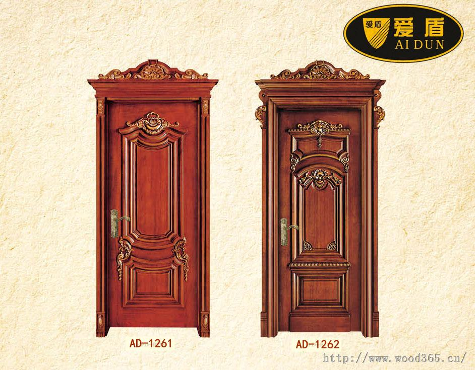 欧式别墅雕花门,原木烤漆门价格,佛山爱盾木门厂