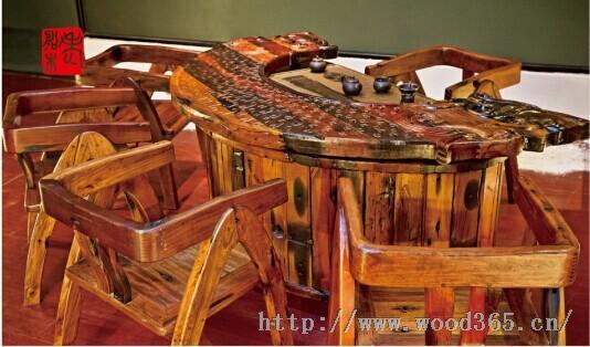产品描述          明月台老船木茶艺文化家具设计巧妙